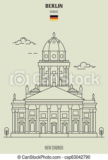 berlin, église, nouveau, germany., repère, icône - csp63042790