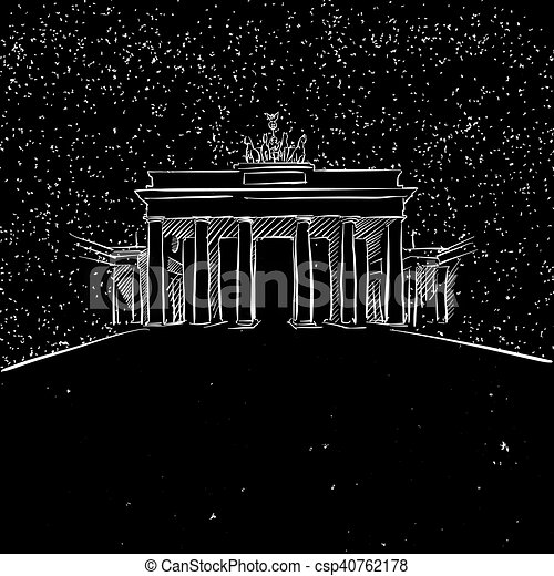 Berlin by Night Brandenburger Gate Sketch - csp40762178