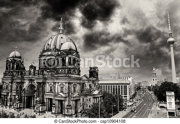 Berlin Cathedral and Alexander Platz, Aerial view in Berlin - csp10904108