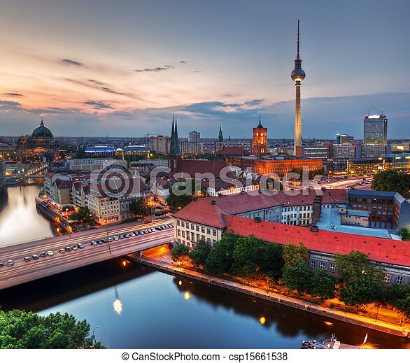Berlin, Germany major landmarks at sunset - csp15661538