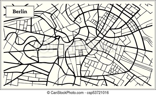 Berlin Germany Map In Black And White Color Vector Illustration