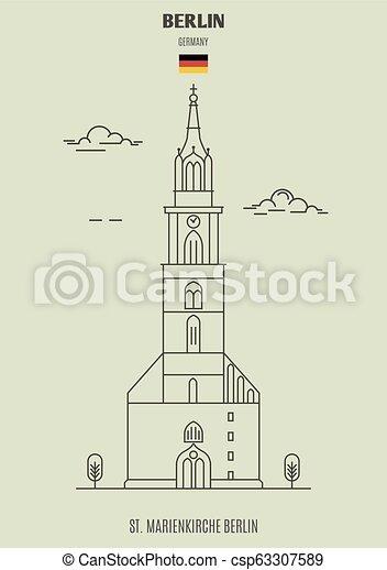 berlin, germany., marienkirche, repère, icône, rue. - csp63307589