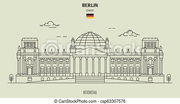 berlin, germany., reichstag, repère, icône - csp63307576