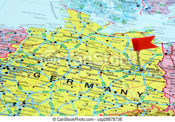 Berlin pinned on a map of europe. Photo of pinned berlin on a map of ...