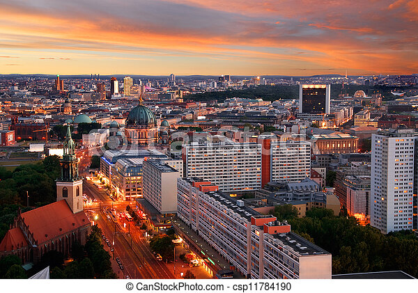 berlin skyline sunset - csp11784190