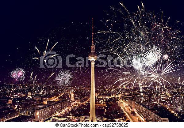 Berlin TV Tower Fireworks - csp32758625