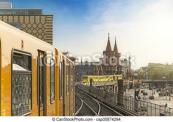 Berlin Ubahn Trains at Oberbaumbridge - csp35874294