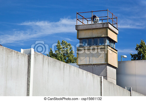 Berlin Wall Memorial, a watchtower in the inner area - csp15661132