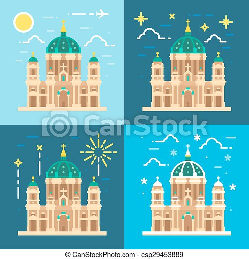 Berliner Dom cathedral flat design - csp29453889