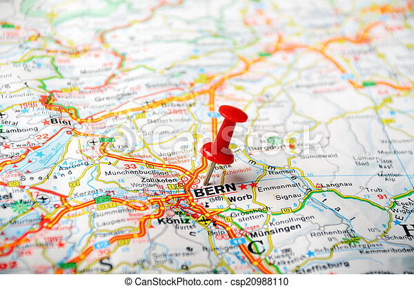 Bern ,swiss map. Map of bern, swiss and red pin .