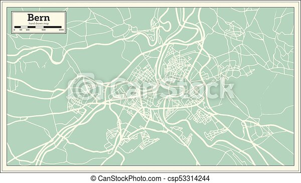 Bern switzerland map in retro style. vector illustration. outline map.