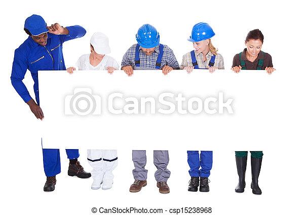 beroepen, anders, plakkaat, vasthouden, mensen - csp15238968