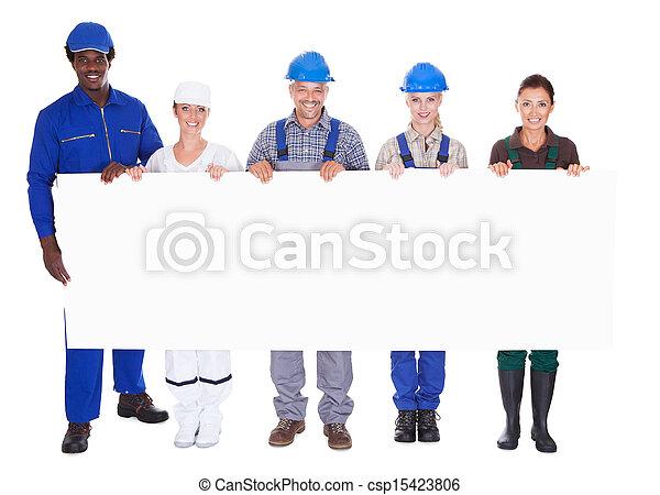 beroepen, anders, plakkaat, vasthouden, mensen - csp15423806