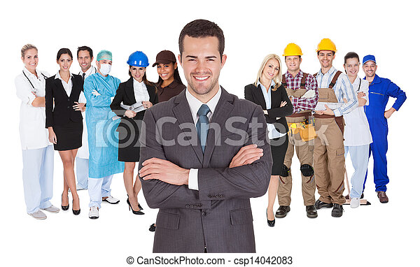 beroepen, anders, witte , werkmannen , samen - csp14042083