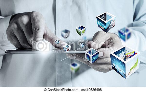 beroeren, streaming, computer, blok, beelden, 3d - csp10636498