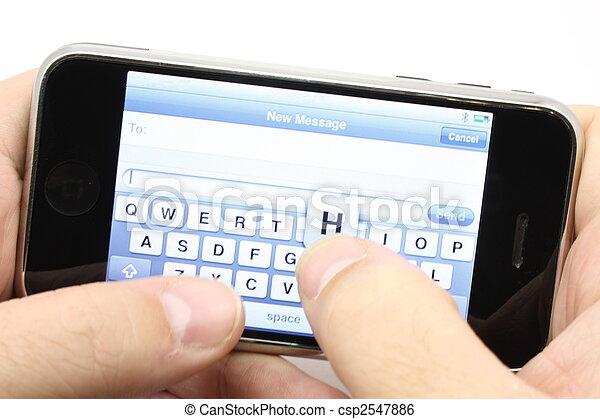 beroeren, telefoon, scherm, texting - csp2547886