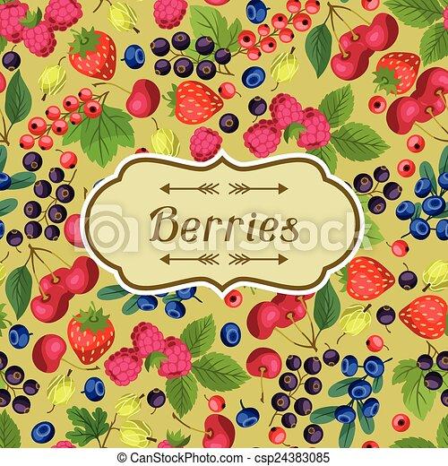 berries., desenho, fundo, natureza - csp24383085