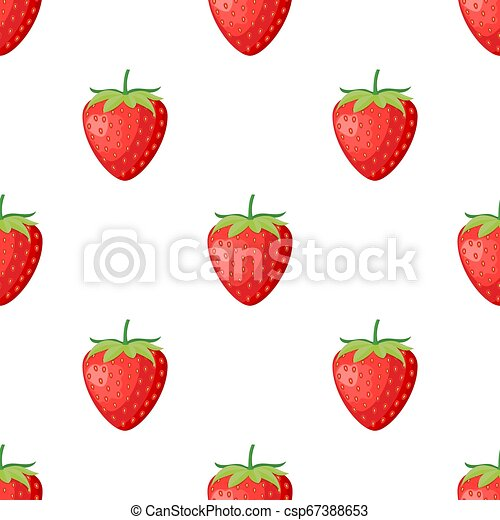 Berries fruit strawberry with leaves seamless pattern for textile prints, cards, design. Flat style, vector illustration - csp67388653