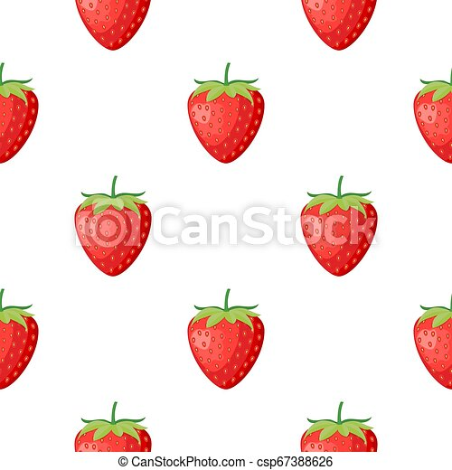 Berries fruit strawberry with leaves seamless pattern for textile prints, cards, design. Flat style, vector illustration - csp67388626