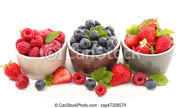berries fruits background. strawberry, blueberry and raspberry - csp47326570