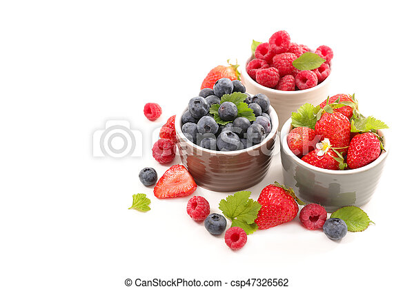 berries fruits background. strawberry, blueberry and raspberry - csp47326562