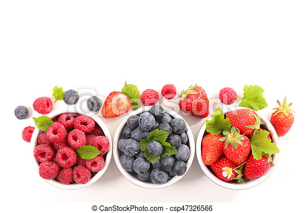 berries fruits background. strawberry, blueberry and raspberry - csp47326566