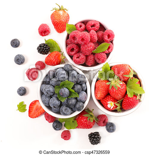berries fruits background. strawberry, blueberry and raspberry - csp47326559