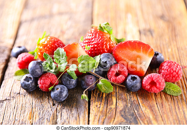berries fruits- strawberry,  raspberry and blueberry - csp90971874
