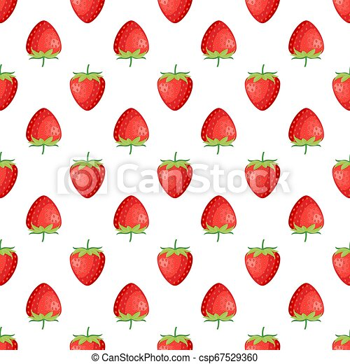 Berries strawberry with leaves seamless pattern - csp67529360
