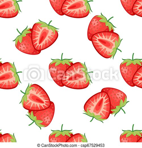 Berries strawberry with leaves seamless pattern - csp67529453