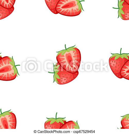 Berries strawberry with leaves seamless pattern - csp67529454