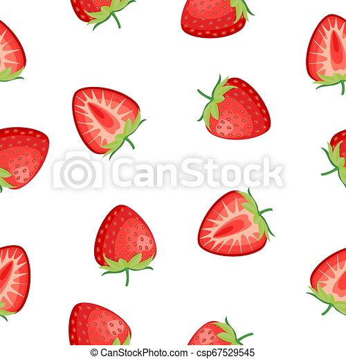 Berries strawberry with leaves seamless pattern - csp67529545