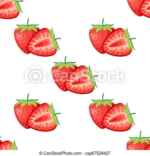 Berries strawberry with leaves seamless pattern - csp67529427