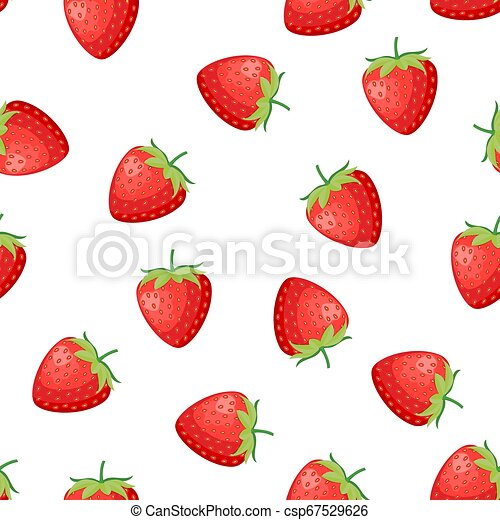 Berries strawberry with leaves seamless pattern - csp67529626
