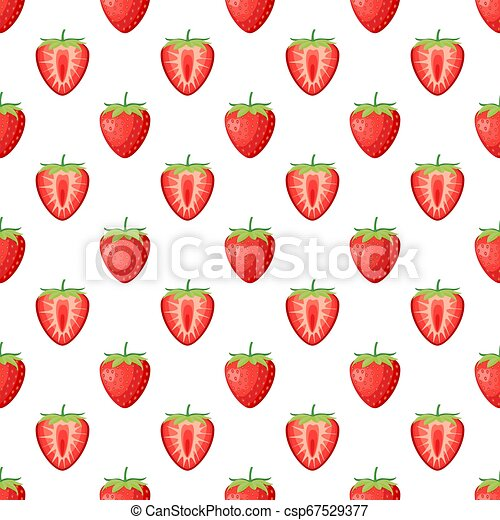 Berries strawberry with leaves seamless pattern - csp67529377