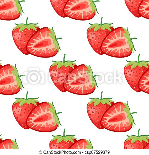 Berries strawberry with leaves seamless pattern - csp67529379