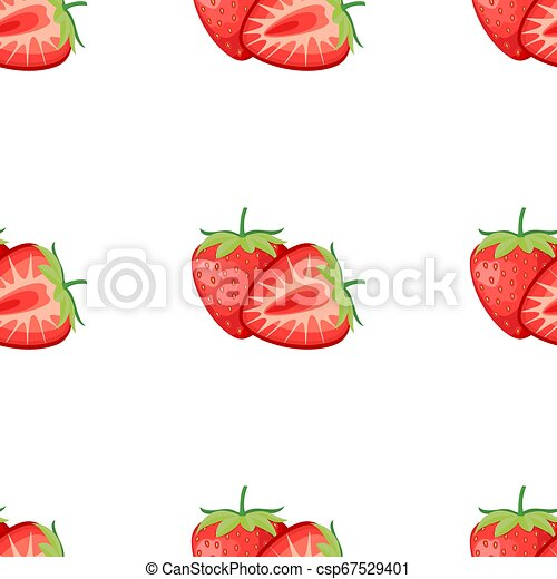 Berries strawberry with leaves seamless pattern - csp67529401