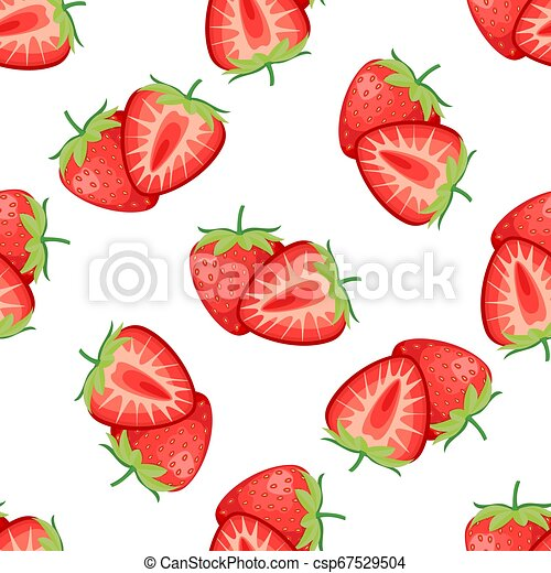Berries strawberry with leaves seamless pattern - csp67529504