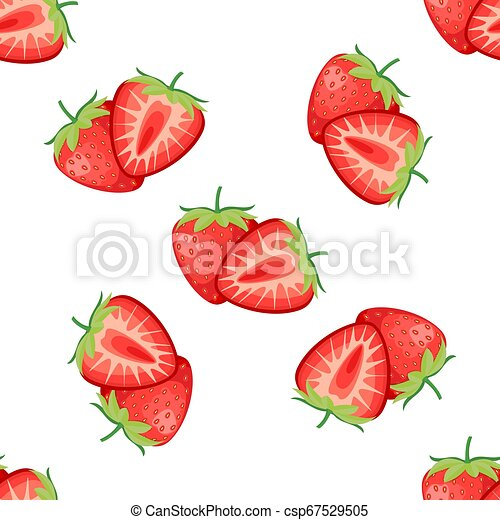 Berries strawberry with leaves seamless pattern - csp67529505