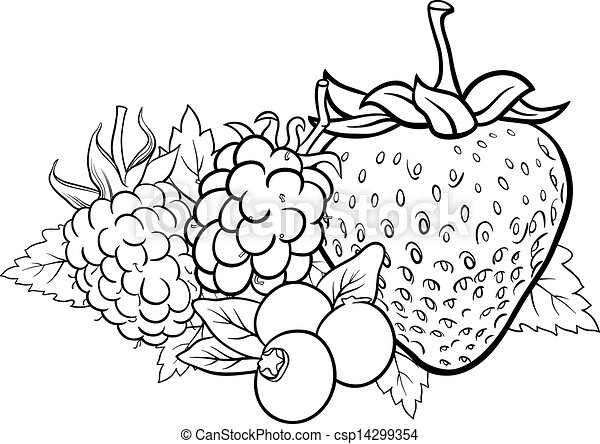 berry fruits illustration for coloring book - csp14299354