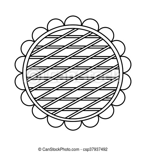 Berry pie icon, outline style - csp37937492