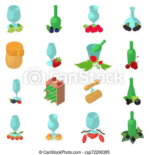 Berry wine icons set, isometric style - csp72206385