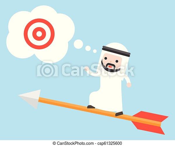 bersaglio, volare, ricerca, arabo, saudita, freccia, uomo affari, stare in piedi - csp61325600