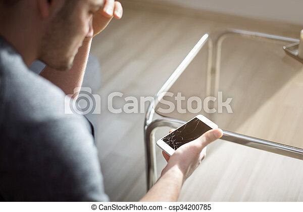 beschädigt, telefon, besitz, woeful, klug, mann - csp34200785