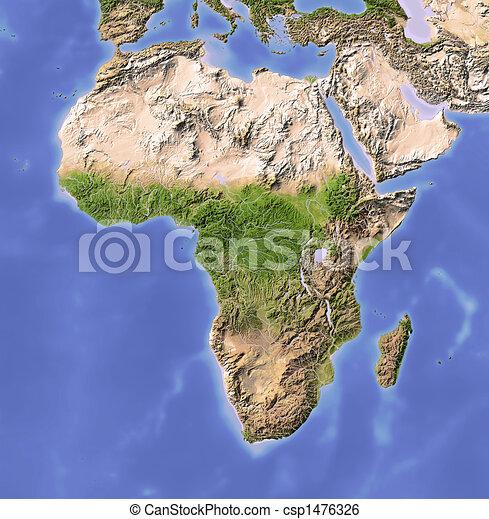 beschattet, erleichterung karte, afrikas - csp1476326