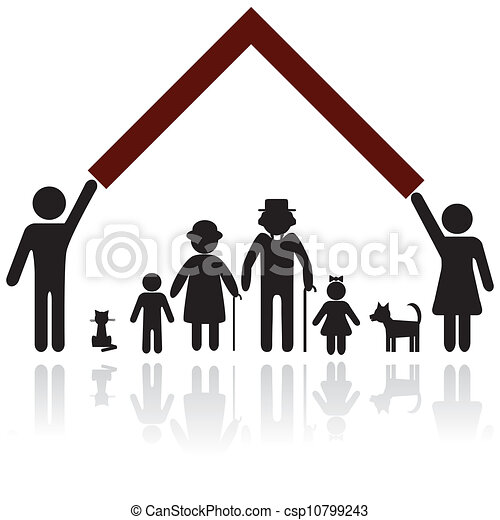 bescherming, silhouette, gezin, mensen - csp10799243