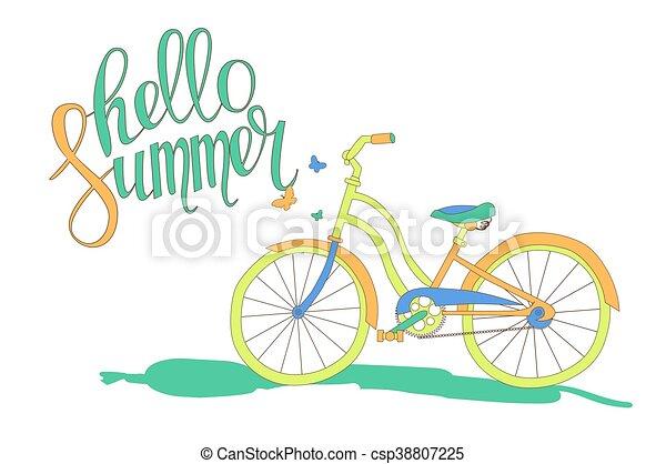 beschriftung, fahrrad, hallo, sommer
