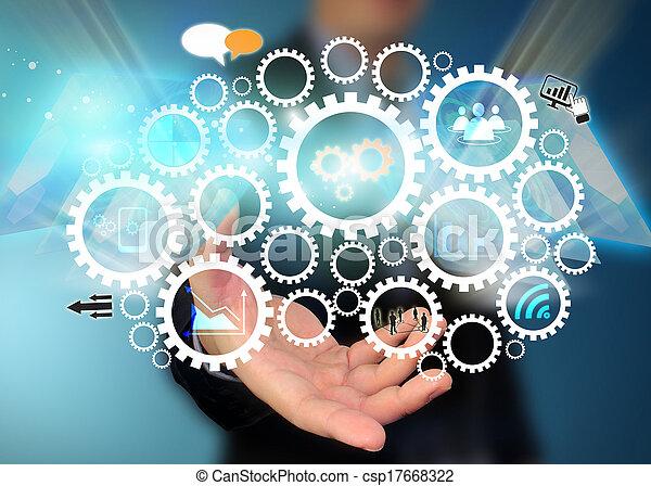 Geschäftsmann mit sozialen Medien - csp17668322