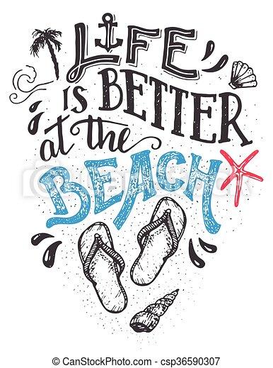 besser, leben, sandstrand, hand-lettering, karte - csp36590307