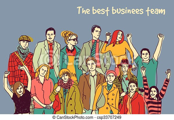Best business team group happy color people. - csp33707249